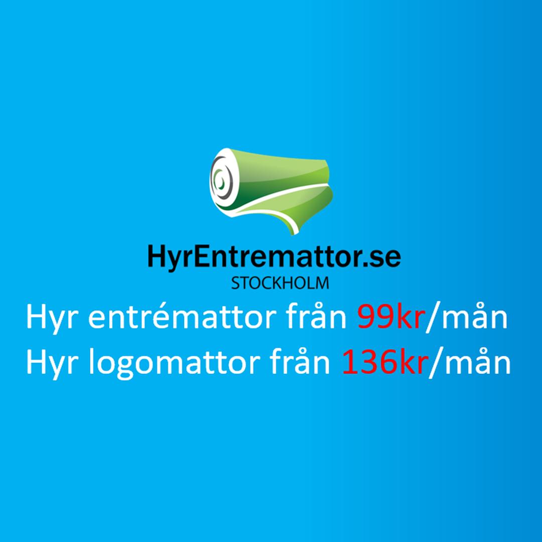 HyrEntremattor.se Logo med blå bakgrund